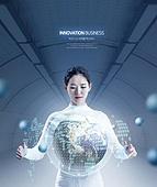 비즈니스, 글로벌, 홀로그램, 4차산업혁명 (산업혁명), 혁신