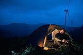 남성, 별 (우주), 여행, 밤 (시간대), 헤드램프 (손전등), 텐트, 휴식