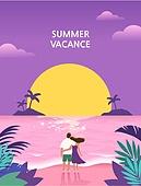 휴가, 여름, 백그라운드 (주제), 풍경 (컨셉), 휴양지, 일몰 (땅거미), 바다, 해변, 커플, 뒷모습