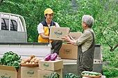 배달 (일), 배달부 (직업), 냉장배송 (배달), 상자 (용기), 채소, 농부 (농촌직업), 농작물, 산지직송, 트럭 (육상교통수단), 택배배달부 (배달부)