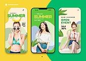 그래픽이미지, 편집디자인, 상업이벤트 (사건), 세일 (상업이벤트), 여름 (계절), 비키니, 스마트폰, 모바일이벤트