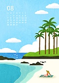 달력 (시간도구), 풍경 (컨셉), 계절, 2022년, 여름, 8월, 해변, 해변 (해안), 야자나무 (열대나무), 바다