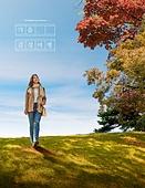가을, 풍경 (컨셉), 감성, 여행, 걷기 (물리적활동), 초원 (자연의토지상태), 여성 (성별), 단풍나무 (낙엽수)