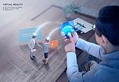 비즈니스, 가상현실 (컨셉), 메타버스, Virtual Reality (Concepts), 스마트폰, 비즈니스맨, 비즈니스우먼
