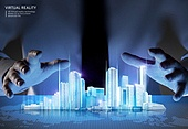 비즈니스, 가상현실 (컨셉), 메타버스, Virtual Reality (Concepts), 사람손 (주요신체부분), 고층빌딩 (회사건물), 세계지도