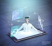 비즈니스, 가상현실 (컨셉), 메타버스, Virtual Reality (Concepts), 비즈니스맨, 디지털태블릿 (개인용컴퓨터), 디지털화면 (문자)