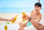 여름, 여행, 휴양, 해변 (해안), 휴가 (주제), 비치웨어 (옷), 행복, 맥주