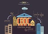 일러스트, 경제, 금융, 은행 (금융빌딩), CBDC (화폐), 비트코인