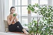 여성, 실내, 건강한생활 (주제), 건강관리 (주제), 운동, 다이어트, 디톡스, 웰빙, 건강식