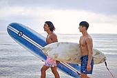 여행, 서핑, 서핑보드 (수중스포츠장비), 여름, 바다, 해변, 휴가, 여가 (주제), 즐거움 (컨셉), 함께함 (컨셉), 친구 (컨셉)