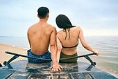 여행, 서핑, 서핑보드 (수중스포츠장비), 여름, 바다, 해변, 휴가, 여가 (주제), 즐거움 (컨셉), 함께함 (컨셉), 커플