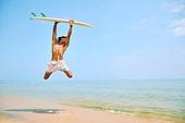 해변, 바다, 서핑, 서핑보드 (수중스포츠장비), 점프, 활력 (컨셉)