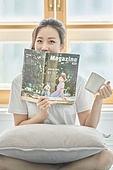 여성, 독서, 잡지, 미소
