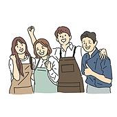 일러스트, 상인 (소매업자), 노동자 (직업), 시장 (상점), 슈퍼마켓 (가게), 캐릭터, 스타트업 (소기업)