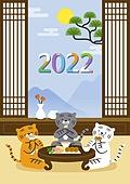 호랑이 (고양잇과큰동물), 2022년, 호랑이띠해 (십이지신), 새해 (홀리데이), 다과상 (한국전통)