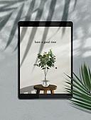 스마트기기 (정보장비), 목업, 디바이스, 단순 (컨셉), 그림자, 재질, 디지털태블릿 (개인용컴퓨터), 감성, 야자잎, 유칼립투스나무 (열대나무), 꽃병 (용기)