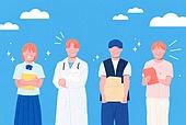 사람들, 여러명[3-5] (사람들), 공동체, 함께함 (컨셉), 이웃, 직업, 구름, 학생, 의사, 택배배달부 (배달부), 간병인 (의료계종사자)