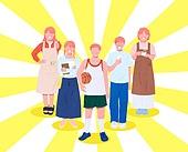 사람들, 여러명[3-5] (사람들), 공동체, 함께함 (컨셉), 이웃, 직업, 농구선수, 헤어디자이너, 상인 (소매업자)