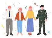 사람들, 여러명[3-5] (사람들), 공동체, 함께함 (컨셉), 이웃, 직업, 손잡기, 꽃가루