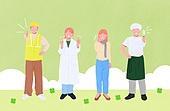 사람들, 여러명[3-5] (사람들), 공동체, 함께함 (컨셉), 이웃, 직업, 엄지손가락 (손가락), 구름, 상인 (소매업자)