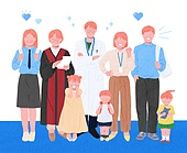 사람들, 여러명[3-5] (사람들), 공동체, 함께함 (컨셉), 이웃, 직업, 의사, 어린이 (나이), 비즈니스우먼