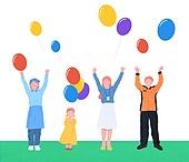 사람들, 여러명[3-5] (사람들), 공동체, 함께함 (컨셉), 이웃, 직업, 소방관, 풍선, 시간제근무 (직업), 어린이 (나이)