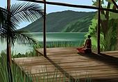 요가, 운동, 여성 (성별), 한명, 취미, 라이프스타일, 풍경 (컨셉), 명상, 야자나무 (열대나무), 산
