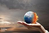 기후변화 (환경오염), 자연재해 (자연현상), 지구 (행성), 날씨, 환경이슈, 온난화, 사막화, 불꽃 (인조물건), 사람손 (주요신체부분)