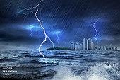 기후변화 (환경오염), 자연재해 (자연현상), 날씨, 환경이슈, 온난화, 번개, 바다, 도시, 스콜