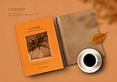 가을, 책, 시집, 감성, 단순 (컨셉), 책표지, 낙엽, 커피잔