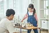 어린이 (나이), 체스, 가족, 딸, 아빠, 시합, 집중