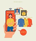 사람, 메타버스, 증강현실, 스마트폰, 쇼핑 (상업활동), 옷, 시착 (움직이는활동)