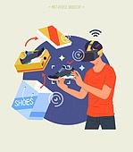 사람, 메타버스, 증강현실, 쇼핑 (상업활동), 운동화, 구매
