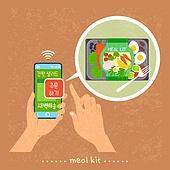 밀키트, 음식, 간편식, 간편식 (음식), 탑앵글 (카메라앵글), 스마트폰, 샐러드, 채소 (음식), 주문 (상업활동), 쇼핑 (상업활동)