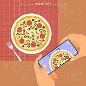 밀키트, 음식, 간편식, 간편식 (음식), 탑앵글 (카메라앵글), 스마트폰, 피자, 사진촬영 (촬영)