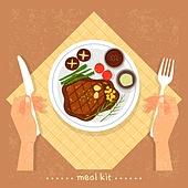 밀키트, 음식, 간편식, 간편식 (음식), 탑앵글 (카메라앵글), 스테이크, 식탁용나이프 (커트러리), 포크, 사람손 (주요신체부분)