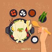 밀키트, 음식, 간편식, 간편식 (음식), 탑앵글 (카메라앵글), 삼계탕, 닭