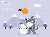 달력 (시간도구), 호랑이 (고양잇과큰동물), 호랑이띠해 (십이지신), 2022년, 새해 (홀리데이), 1월, 흑호 (호랑이)