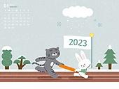 달력 (시간도구), 호랑이 (고양잇과큰동물), 호랑이띠해 (십이지신), 2023년, 흑호 (호랑이), 토끼 (토끼목), 바통 (스포츠용품), 1월, 새해 (홀리데이), 토끼띠해 (십이지신)