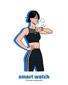 사람, 스마트워치, 이어폰, 무선기술 (기술), 라이프스타일, 운동, 운동복