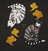 페이퍼아트, 종이, 호랑이 (고양잇과큰동물), 2022년, 호랑이띠해 (십이지신), 민화, 흑호, 흑호 (호랑이), 흰호랑이 (호랑이)