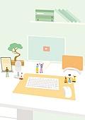 책상, 사무실, 사람, 컴퓨터, 노트북컴퓨터 (개인용컴퓨터), 스탠드, 화분, 컴퓨터키보드 (입력도구)