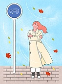사람, 라이프스타일, 계절, 가을, 차가움 (컨셉), 버스정류장 (인공구조물), 단풍잎