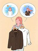 사람, 라이프스타일, 계절, 가을, 여성, 재킷 (외투), 옷걸이 (인조물건), 걱정 (어두운표정), 말풍선