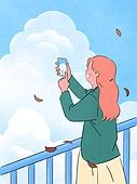 사람, 라이프스타일, 계절, 가을, 사진촬영 (촬영), 하늘, 구름
