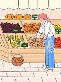 사람, 라이프스타일, 계절, 가을, 여성, 슈퍼마켓 (가게), 박과 (채소), 쇼핑 (상업활동)