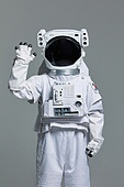 우주비행사 (운송직업), 우주복, 누끼 (누끼), 스튜디오촬영 (실내), 인사 (제스처)