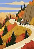 가을, 자전거, 여가 (주제), 휴식, 풍경 (컨셉), 단풍나무 (낙엽수), 도로, 타기 (움직이는활동)