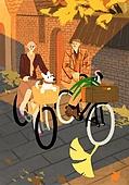 가을, 자전거, 여가 (주제), 휴식, 데이트, 커플, 은행잎