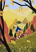 가을, 자전거, 여가 (주제), 휴식, 풍경 (컨셉), 단풍나무 (낙엽수), 산, 언덕